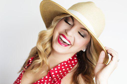 Pretty Girl, Polka Dot, Hat, Straw Hat, Girl, Polka