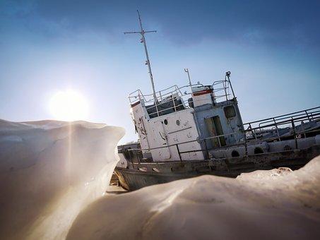 Fishing Vessel, Ice, Siberia, Baikal, Russia, Frozen