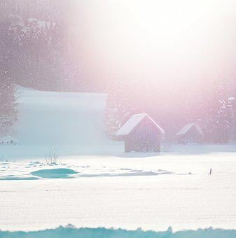 Winter's Day, Pink Mood, Cottages, Snow, Log Cabin