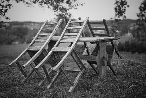 Chairs, Black And White, Still Life, Garden, Out