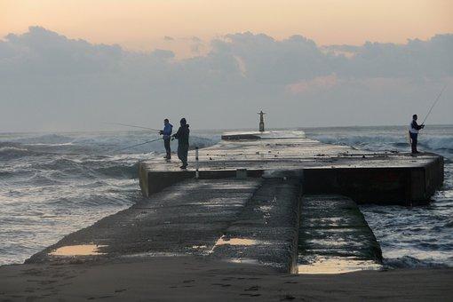 Sea, Levee, Sunrise, Wave, Surf, Fishing