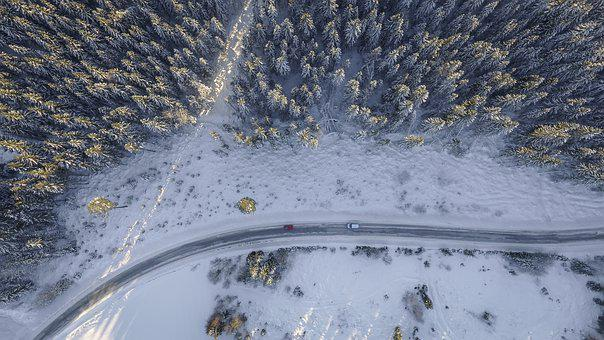 Snowy, Trees, Road, Cars, Forest, Aerial, Winter