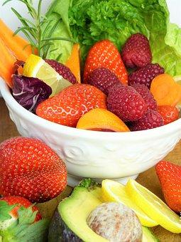 Fruit, Strawberries, Raspberries, Lemon, Avocado, Salad