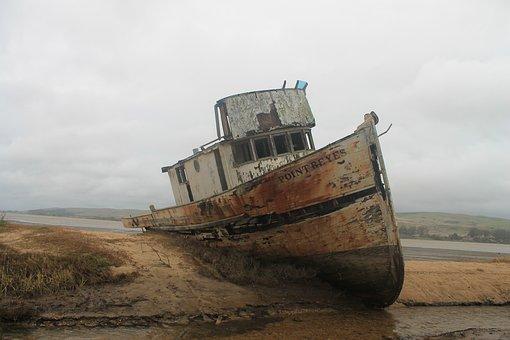 Boat, Wreak, Ocean, Water, Sea, Beach, 2010, Wind