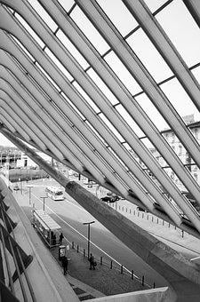 Station, Liège, Architecture, Building, Black White