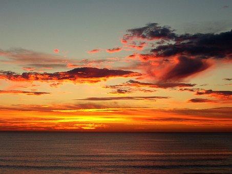Sunrise, Sunset, Sun, Water, Cloud, Ocean, Sea, Blue