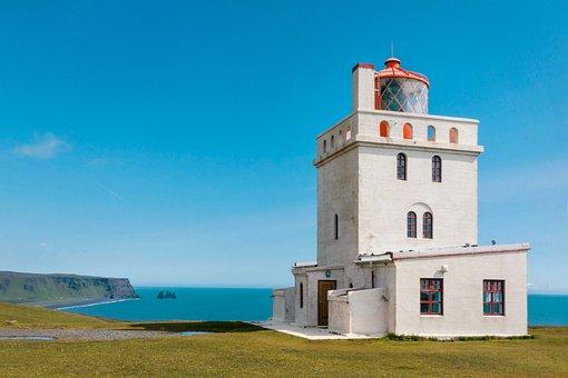 Lighthouse, Iceland, Coast, Beach, Nature, Water, Rock
