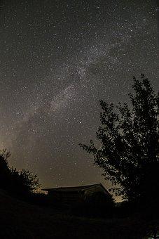 Milky Way, Landscape, Barn, Star, Universe, Starry Sky