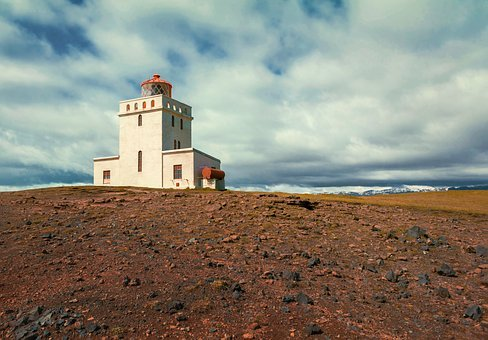 Lighthouse, Steinig, Iceland, Clouds, Snow Mountains