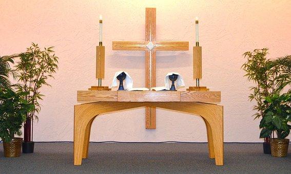 Church, Alter, Cross, Communion, Candles, Religion