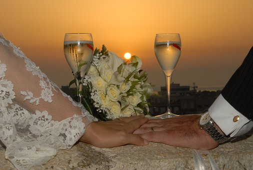 Marriage, Sunset, Wedding, Love, Spouses, Hearts