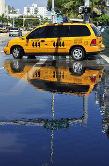 Taxi, Reflection, Miami, Street, Cab