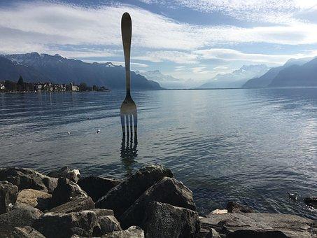 Fork, Lake, Vevey, Switzerland, Mountains, Art