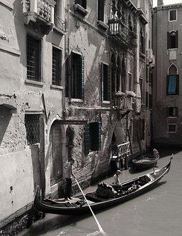 Gondola, Venice, Boats, Ship Way, Channel