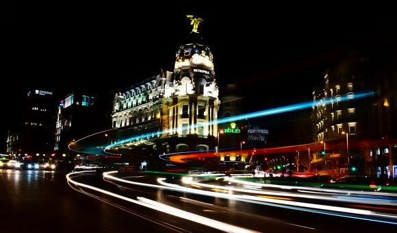 Madrid, Spain, City, Cityscape, Urban, Buildings, Night