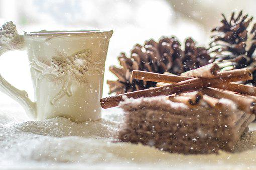 Pine Cones, Snow, Winter, Coffee, Tea, Cinnamon
