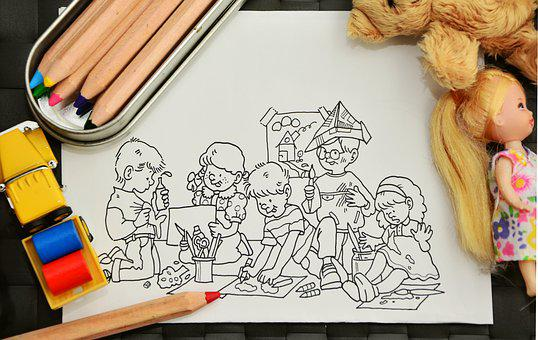 Paint, Tinker, Kindergarten, Pens, Coloring Pages