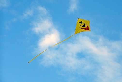 Kyte, Freedom, Sky, Blue, Yellow, Color, Happy