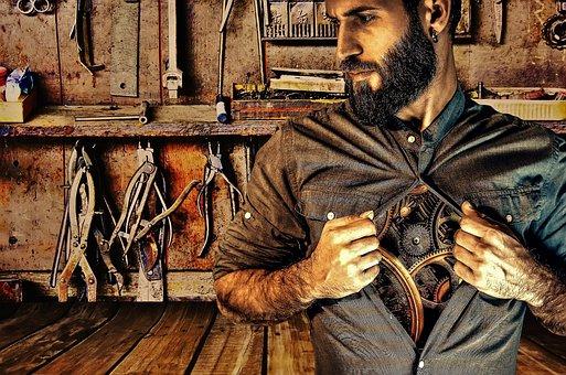 Workshop, Man, Mechanics, Repair, Work, Body, Machine