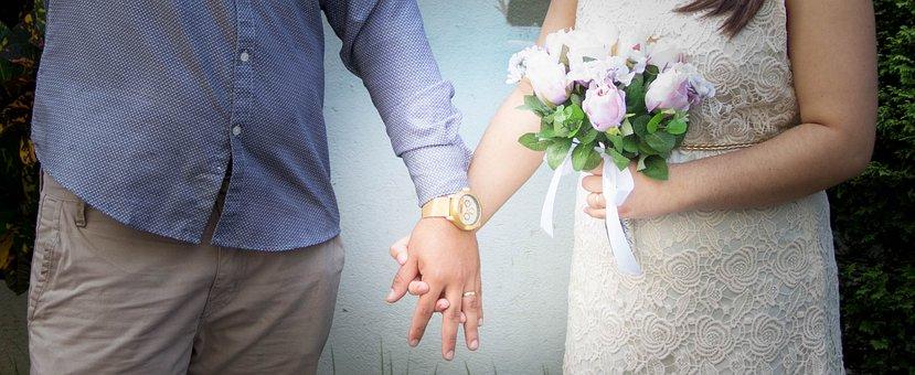 Marriage, Grooms, Bouquet, Hand In Hand, Dress, Casal
