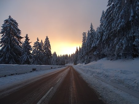 Winter, Road, Wintry, Mountains, Snow, Mood, Sunrise