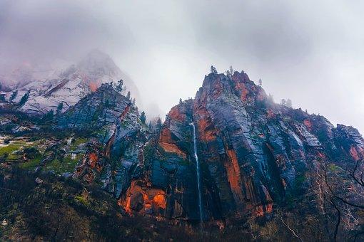 Zion National Park, Utah, Mountains, Mountainside