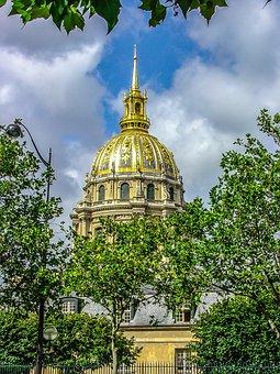 Paris, France, Dome, Gold, Sky, Les Invalides, Monument