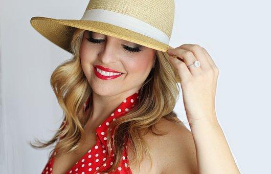 Pretty Girl, Polka Dot, Straw Hat, Smile, Girl, Female