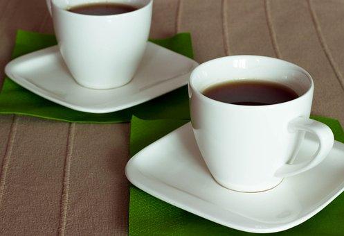 Tea, Teacup, Green, Brown, Two, White, Porcelain