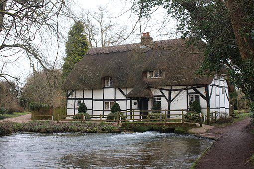 Mill, Cottage, Fulling Mill, Thatch, River