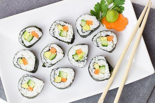 Sushi, Vegetarian, Vegetables, Rice, Asia, Carrot
