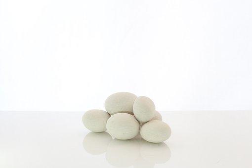 White Pebble Stones, White Background, White, Nature
