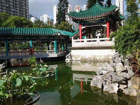 Temple, China, Pagoda, Zen, Garden, Architecture, Basin