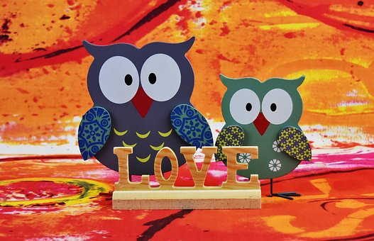 Owls, Wood, Decoration, Love, Color, Cute, Funny