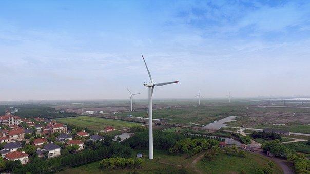 China, Shanghai, Golden Bridge, Wind Turbine