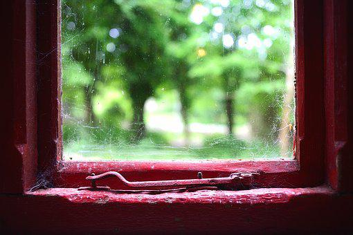 Old, Window, Red, Paint, Green Grass, Trees, Dark