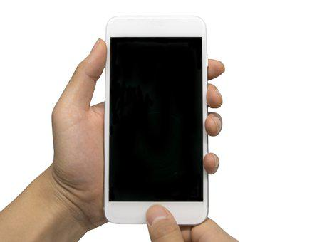 Cell Phone, Finger Scan, Hand, It, Isolated