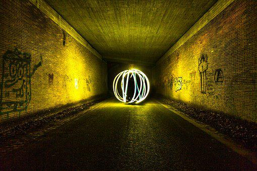 Light Painting, Color, Light Dom, Underpass, Structure
