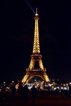 Eiffel Tower, Paris, France, Night, Light, City