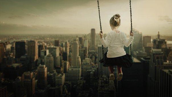 Girl, Rocks, Skyline, Skyscraper, Downtown, Roofs, Mood