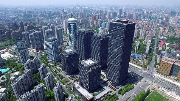 Panorama, China, Shanghai, Lu Jia Zui, Building