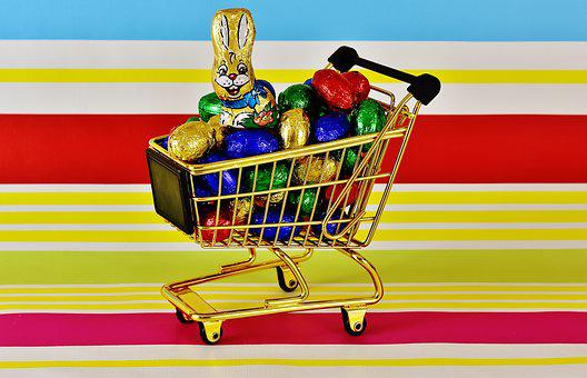 Shopping Cart, Chocolate Eggs, Easter, Happy Easter
