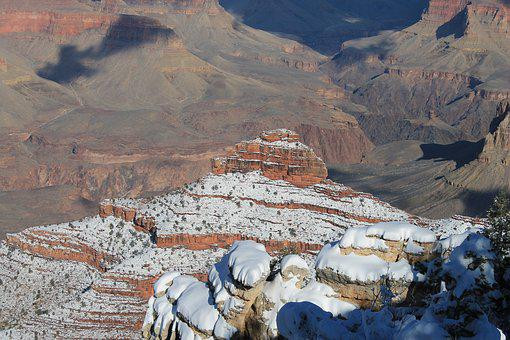 Grand Canyon, Winter, Canyon, Snow, Park, Landscape