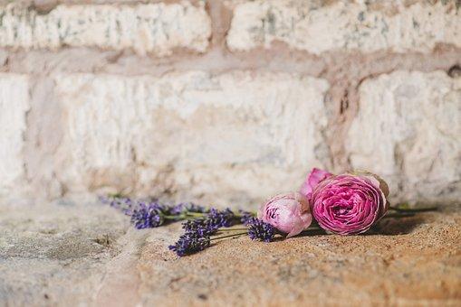 Wedding, Flowers, Bouquet, Wall, Stone, Ceremony