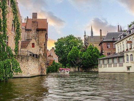 Bruges, Brugges, Belgium, Canal, Tree, Rain, City, Old