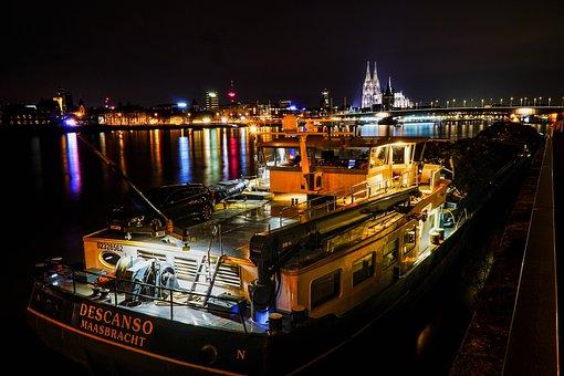 Cologne, Deutzer Bridge, Boot, Port, Lights, Night