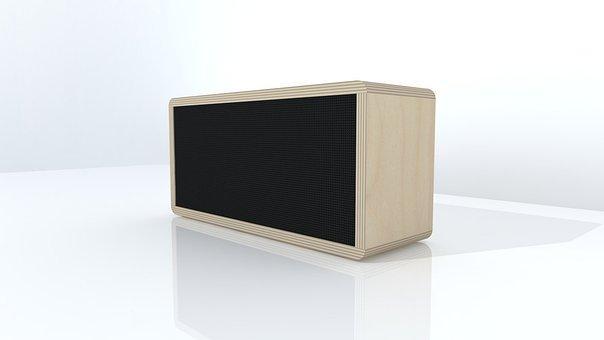 Column, Wireless, Plywood, Speaker, Bluetooth, Beige