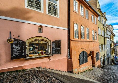 Prague, Czech, Europe, Shop, Window, Street, Buildings