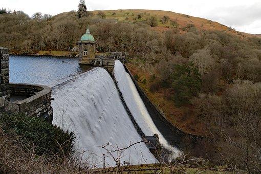 Pen-y-garreg, Dam, Wales, Reservoir, Uk, Elan Valley