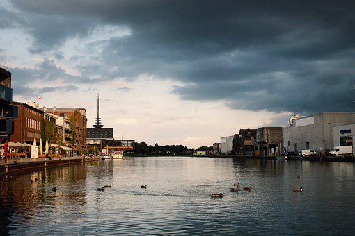 Dramatic Sky, Port, Sky, Water, Evening Sky, Blue